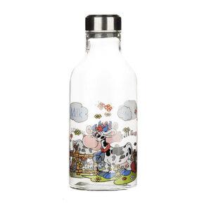 بطری شیر بیضی استیل طرح گاو زیبا