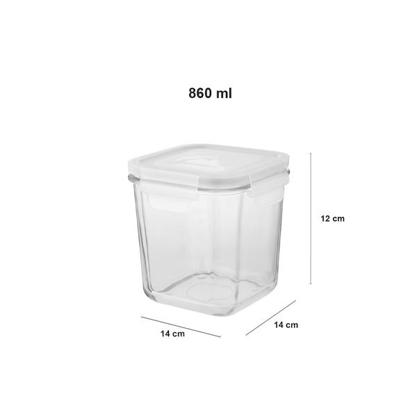 ظرف شیشه ای مربع دربدار ۸۶۰ میلی لیتر لیمون