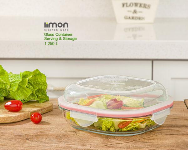 ظرف شیشه ای سرو و نگهداری دربدار ۱.۲۵۰ لیتر لیمون